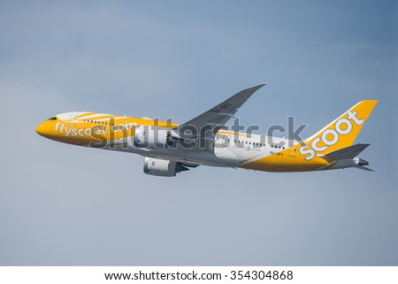 BANGKOK, THAILAND - DECEMBER 20, 2015: A Boeing 787-8 Dreamliner, 9V-OFC of Scoot Airlines flight TZ298 flying from Don Mueang International Airport (DMK) to Osaka International Airport (KIX), Japan - stock photo