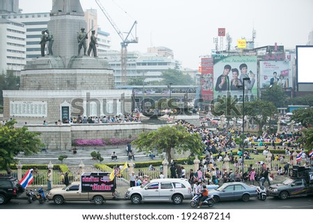 Bangkok,Thailand - December 9, 2013: Anti-government protesters at Victory Monument in Bangkok, Thailand. The protest Against The government in Bangkok, capital of Thailand