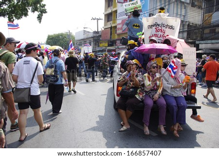 BANGKOK,Thailand - DECEMBER 9,2013 : Anti-government protesters in Bangkok, Thailand. The protest Against The government in Bangkok, capital of Thailand