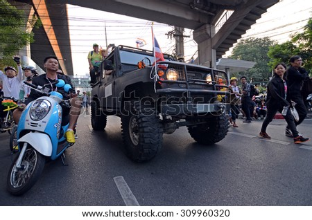 BANGKOK,THAILAND - DECEMBER 22 : Anti-government protesters to blockade the Royal Thai Police. The protest Against The Amnesty bill in Bangkok, capital of Thailand on 22 December 2013
