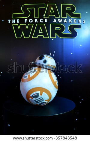 Bangkok, Thailand - 19 December, 2015: BB-8 Android Models at Star Wars The Force Awakens Thailand Premiere Exhibition at Central World Shopping Center. - stock photo