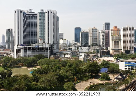 Bangkok, Thailand - December 16, 2015 : Buildings and High Way architecture  on the  Emquartier shopping mall at BTS Phrom Phong station