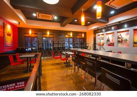 Bangkok, Thailand - 14 December 2014: Burger King fast food restaurant on Khao San Road in Bangkok, Thailand. - stock photo