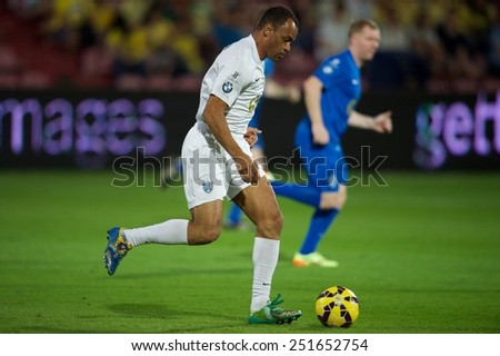 BANGKOK, THAILAND - DECEMBER 05: Cafu of Team Figo in action during the Global Legends Series match, at the SCG Stadium on December 5, 2014 in Bangkok, Thailand. - stock photo