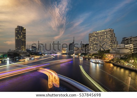 Bangkok, Thailand - December 11, 2016: Chao Phraya River view from Saphan Taksin or Taksin Bridge