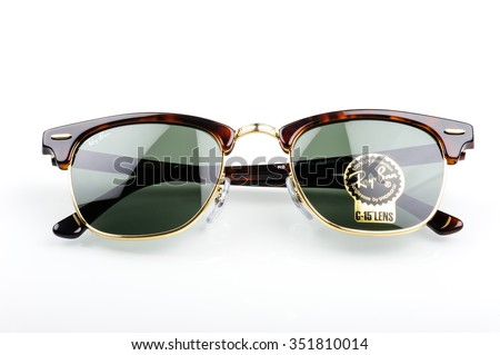 BANGKOK, THAILAND - DECEMBER 16, 2015: Closeup Details of Ray-Ban Club Master RB3016 W0366 -Tortoise. Ray-Ban is a brand of sunglasses and eyeglasses founded in 1937 by Bausch & Lomb.
