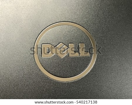 BANGKOK, THAILAND- DECEMBER 21 2016 : Dell logo made from stainless steel on notebook cover, Bangkok, Thailand on December 21,2016