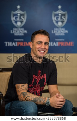 BANGKOK, THAILAND - DECEMBER 03: Fabio Cannavaro  in action during a press conference in the lead up to the Global Legends Series, at the Swissotel, on Dec3, 2014 in Bangkok, Thailand. - stock photo