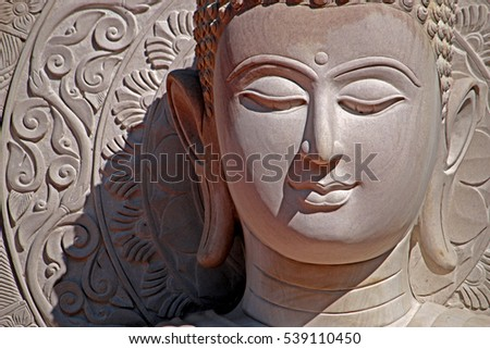 BANGKOK-THAILAND-DECEMBER 5 : Face of stone Buddha statue for worship on December 5, 2015, Bangkok, Thailand