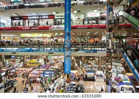 BANGKOK, THAILAND - DECEMBER 21: inside the Pantip Plaza, the biggest electronic and software shopping complex in Thailand to get some christmas bargain on December 21, 2009 in Bangkok, Thailand.