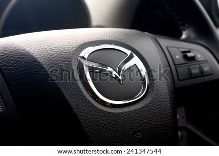 BANGKOK, THAILAND - DECEMBER 31, 2014: Logo of Mazda car on steering wheel on December 31,2014 in Bangkok Thailand.
