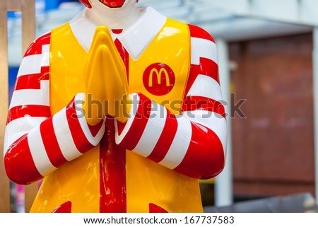 BANGKOK,THAILAND - DECEMBER 17: Mcdonals character at sathorn  on December 17, 2013 in bangkok ,Thailand