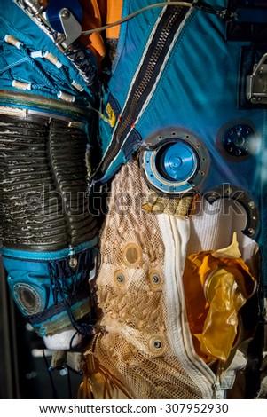 BANGKOK, THAILAND - DECEMBER 20: NASA Exhibition in Bangkok, Thailand on December 20, 2014. Space suit that used in NASA missions - stock photo