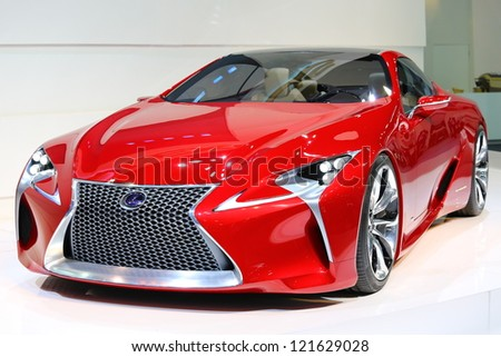 BANGKOK, THAILAND - DECEMBER 10: New model of Lexus in the 29th Thailand International Motor Expo 2012 at IMPACT on December 10, 2012 in Bangkok, Thailand. - stock photo