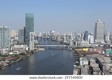 BANGKOK, THAILAND - December 1. Panoramic view of Bangkok city on December 1, 2014 in Bangkok, Thailand. Bangkok is the biggest city in Thailand with 7,02 million inhabitants.