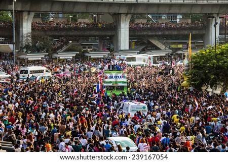 BANGKOK THAILAND-DECEMBER 21: Parade Thailand Champions AFF Suzuki Cup 2014 at Victory Monument on Dec 21 2014 in Bangkok, Thailand - stock photo