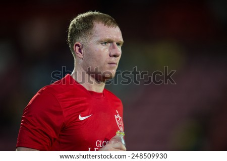 BANGKOK, THAILAND - DECEMBER 05: Paul Scholes of Team Cannavaro in action during the Global Legends Series match, at the SCG Stadium on December 5, 2014 in Bangkok, Thailand.  - stock photo