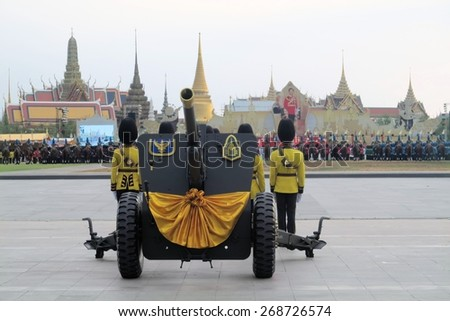 Bangkok, Thailand - 2 December 2014: Soldiers show old cannons, showcasing Thailand's strength to celebrate the 87th birthday of His Majesty King Bhumibol Adulyadej at the royal field Sanam Luang - stock photo