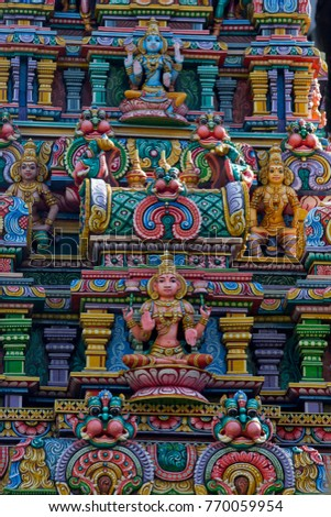 "BANGKOK (THAILAND) - DECEMBER 2017: Sri Maha Mariamman Temple, known as Wat Khaek (meaning the ""Indian temple"" in Thai) in Si Lom District. Detail of decoration"