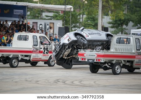 BANGKOK, THAILAND -December 6 2015:SUBARU RUSS SWIFT stunt show 2015 in Motor Expo drive by RUSS SWIFT,a British performance stunt at Impact Arena on December,6 2015 BANGKOK, THAILAND