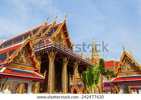 BANGKOK, THAILAND - DECEMBER 16, 2014: temple Wat Phra Kaew. Wat Phra Kaew or Wat of the Emerald Buddha is regarded as the most sacred Buddhist temple in Thailand - stock photo