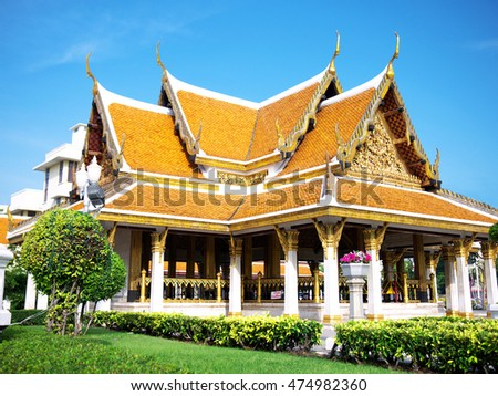BANGKOK/ THAILAND-December 21, 2014: Thai Traditional  Pavilion in the Royal Temple, Bangkok. It is used in National Guests Greeting in Bangkok.