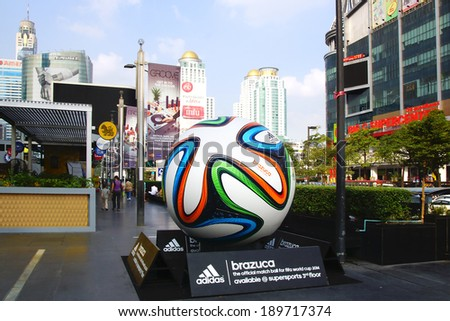BANGKOK, THAILAND - DECEMBER 13, 2013: The Adidas Brazuca ball at Rama 1 Rd. The Adidas Brazuca is the official match ball of the 2014 FIFA World Cup which will be held in Brazil.  - stock photo