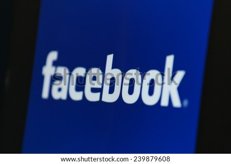 "BANGKOK, THAILAND - DECEMBER 25, 2014: the logo of the brand ""Facebook"" on December 25, 2014. Internet statistics website Socialbakers ranks Bangkok with the highest number of Facebook users worldwide - stock photo"