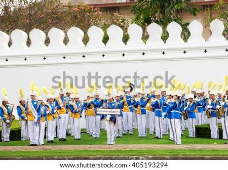Bangkok, Thailand - December 5, 2015: The Royal Thai Army musicians on celebrating of the King Rama 9 birthday at the walls of the Grand Palace, Bangkok, Thailand. - stock photo