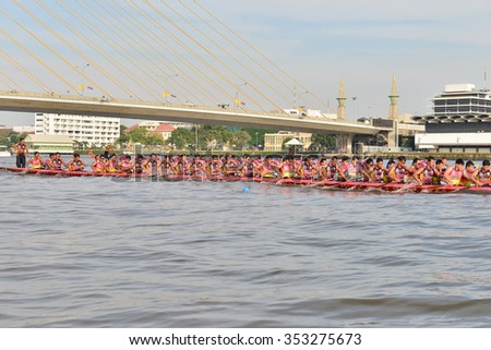 Bangkok, Thailand 20 December 2015 : Two boat teams in full speed during for competition of Thailand International Swan Boat Race 2015 at Chao Praya River Bangkok Thailand. 20 December 2015