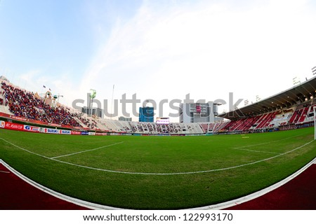 BANGKOK THAILAND-DECEMBER 13:Unidentified view of  Supachalasai stadium during the AFF Suzuki Cup between  Malaysia and Thailand at Supachalasai stadium on Dec13, 2012 in,Thailand. - stock photo