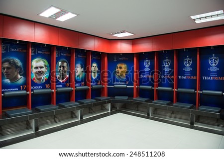 BANGKOK,THAILAND-DECEMBER 05: View athletic dressing rooms team of Team Cannavaro during the Global Legends Series match, at the SCG Stadium on December 5, 2014 in Bangkok, Thailand. - stock photo