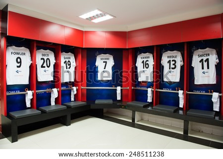 BANGKOK,THAILAND-DECEMBER 05: View athletic dressing rooms team of Team Figo during the Global Legends Series match, at the SCG Stadium on December 5, 2014 in Bangkok, Thailand. - stock photo