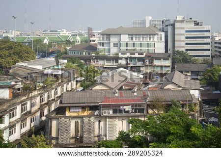 BANGKOK, THAILAND - DECEMBER 31, 2013: view of residential neighborhoods