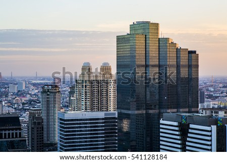 Bangkok, Thailand - 17 December, 2016: View of the Bangkok Skyline from the central business district, Silom.