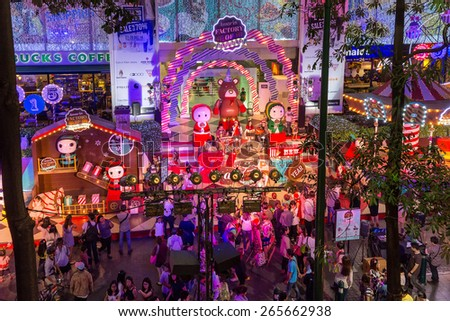 BANGKOK, THAILAND, DECEMBER 25, 2014: View on a Christmas street show near the Ploen chit BTS station in Bangkok, Thailand. - stock photo