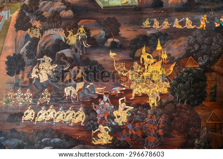 BANGKOK, THAILAND - DECEMBER 19: Wat Phra Kaew in Bangkok, Thailand on December 19, 2014. Mural paintings along the inner wall of the temple portrays the story of Ramayana epic saga
