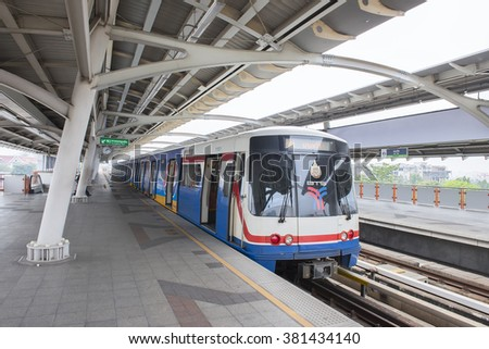 Bangkok, Thailand - Feb 24 2016 : Bangkok mass transit system (BTS) have a switching problem therefore force passengers to switch train at Siam Center Station created a long line and delays.