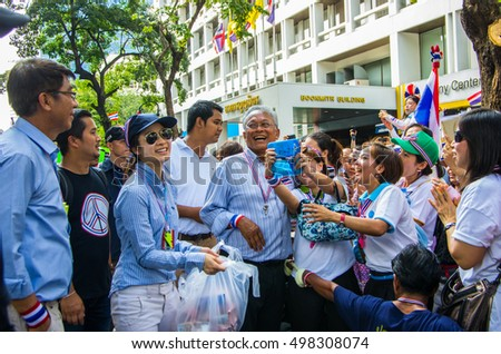 Bangkok, Thailand - FEB 7, 2014: Mr. Suthep Thaugsuban, the PDRC Secretary-General during the march in Silom area.