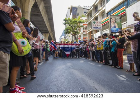 Bangkok, Thailand - FEB 7, 2014: PDRC supporters during the protest against Thai government  in Silom area.