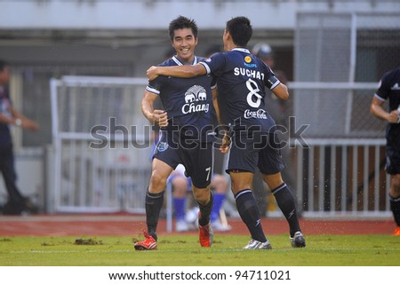 BANGKOK,THAILAND-FEB 4: Rangsan Viwatchaichok (L) of Buriram PEA celebrates after scoring during the Toyota league cup Buriram PEA and Thai Port FC.at National Stadium on Feb 4, 2012 in Bangkok, Thailand.