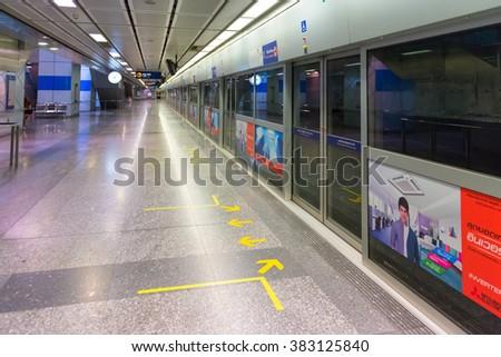 BANGKOK, THAILAND - 8 FEB 2016: Subway Metro MRT Rail Station platform in Bangkok, Thailand - stock photo