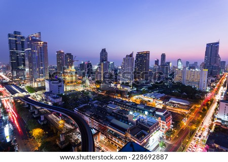 Bangkok,Thailand - 8 February 2014 : Aerial view of modern buildings in Silom district on February 08, 2014 in Bangkok, Thailand.  Silom is the famous business area in Thailand.