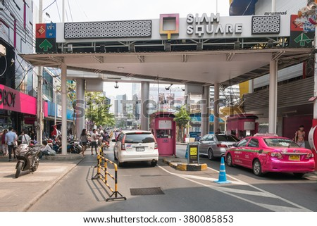Bangkok,Thailand - February 22,2016 : Bad traffic at entrance of Siam Square.Siam Square is a shopping and entertainment area in Bangkok