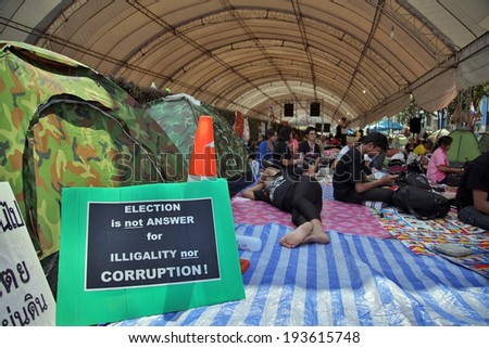 BANGKOK, THAILAND - 15 FEBRUARY 2014: Bangkok Shutdown Protests in Thailand - stock photo