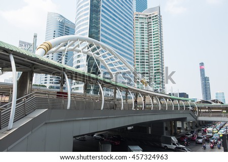 BANGKOK, THAILAND - FEBRUARY 20, 2016: Chong Nonsi skywalk at Bangkok skytrain station (BTS) on February 20, 2016 in Bangkok, Thailand. Chong Nonsi Station is a skytrain station on the Silom Line.