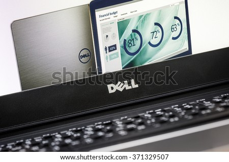 BANGKOK, THAILAND - FEBRUARY 02, 2016: Closeup Dell logo on new Dell Vostro 5459 notebook.