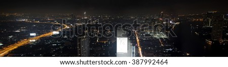 BANGKOK, THAILAND - FEBRUARY 13, 2016: Panoramic night view at Bangkok, Thailand.  Bangkok is the capital and most populous city of Thailand.