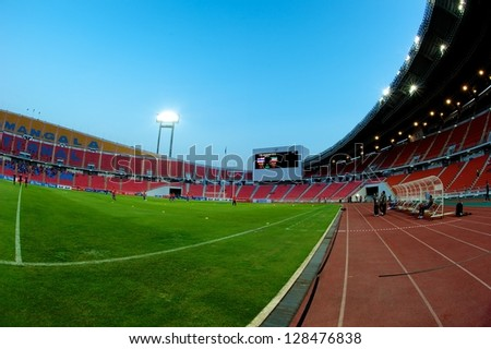 BANGKOK THAILAND-FEBRUARY 06:Panoramic views of Rajamangala stadium before the football 2015 Asian Cup qualifying  between Thailand and Kuwait at Rajamangala stadium on Feb 06, 2013 in,Thailand.