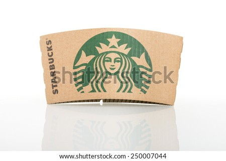 BANGKOK, THAILAND - FEBRUARY 04, 2015: Starbucks coffee cup sleeve on white background. Starbucks is the world's largest coffee house with over 20,000 stores in 61 countries. - stock photo